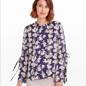 Club Monaco silky floral blouse with bell sleeves